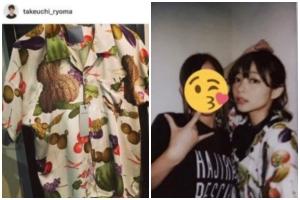 竹内涼真と元カノ・里々佳のお揃いアイテム:個性的な柄のシャツ